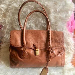 Badgley Mischka Cognac flap satchel